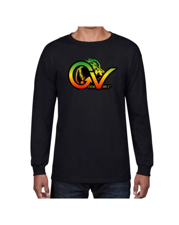 Good Vibes Rastafarian Lion GV Black Long Sleeve T-shirt