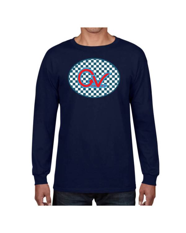 Good Vibes Blue Red Checkered Navy Long Sleeve T-shirt