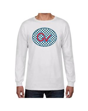 Good Vibes Blue Red Checkered White Long Sleeve T-shirt