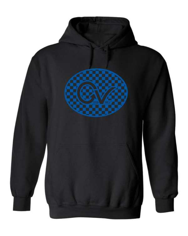 Good Vibes™ Unisex Blue Checker Hoodie. This is a Heavyweight Hoodie 50% cotton and 50% Polyester with Front pouch pocket