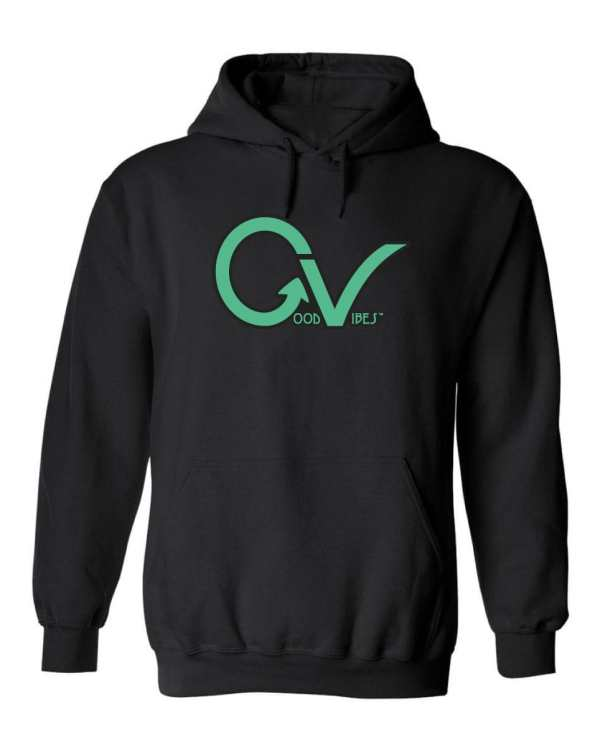 Good Vibes™ Unisex Dk Teal Hoodie. This is a Heavyweight Hoodie 50% cotton and 50% Polyester with Front pouch pocket