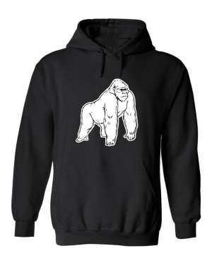 Good Vibes™Unisex White Gorilla Hoodie. This is a Heavyweight Hoodie 50% cotton and 50% Polyester with Front pouch pocket