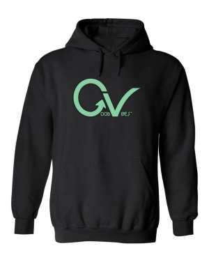 Good Vibes™ Unisex Teal GV Hoodie. This is a Heavyweight Hoodie 50% cotton and 50% Polyester with Front pouch pocket
