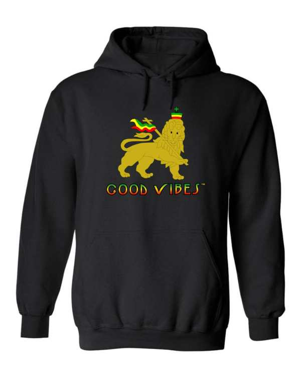 Good Vibes™ Unisex Lion Rasta Hoodie. This is a Heavyweight Hoodie 50% cotton and 50% Polyester with Front pouch pocket