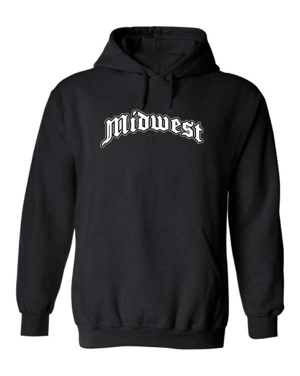 Good Vibes™ Unisex Midwest Logo Hoodie. This is a Heavyweight Hoodie 50% cotton and 50% Polyester with Front pouch pocket