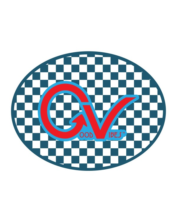 """Good Vibes Checker Blue Red Sticker for Indoor or Outdoor Use 4"""" x 3"""""""