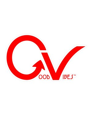 "Good Vibes Red GV Sticker for Indoor or Outdoor Use 3.45"" x 2"""