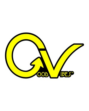 "Good Vibes Yellow Black GV Sticker for Indoor or Outdoor Use 3.45"" x 2"""