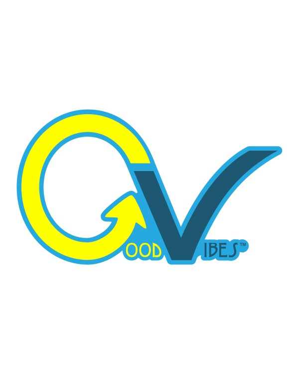 "Good Vibes Yellow Blue GV Sticker for Indoor or Outdoor Use 3.45"" x 2"""