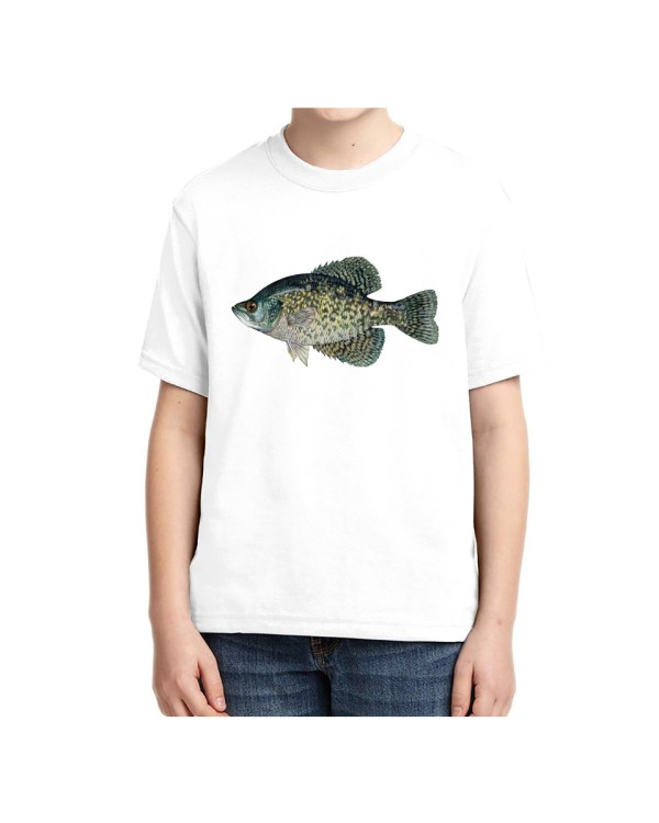 Kids Black Crappie Fish T-shirt 5.6 oz., 50/50 Heavyweight Blend White T-Shirt