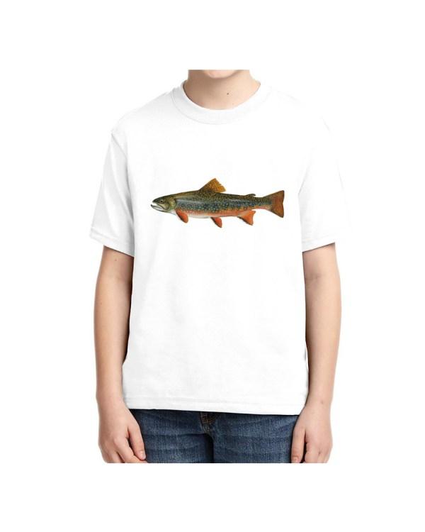 Kids Brook Trout Fish T-shirt 5.6 oz., 50/50 Heavyweight Blend White T-Shirt