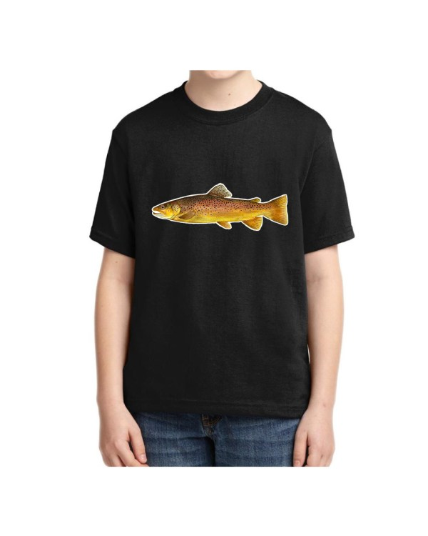 Brown Trout Black Kids Tshirt