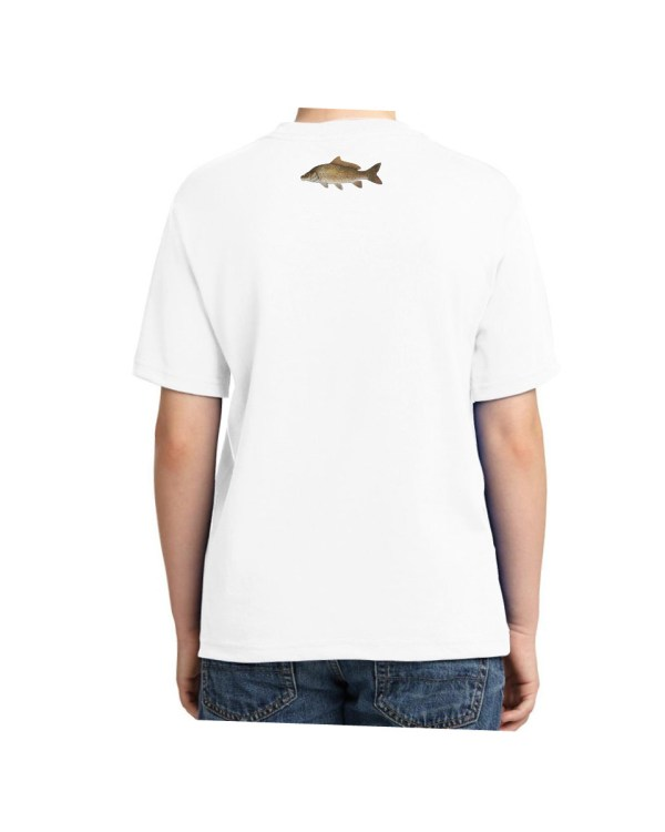 Kids Carp Fish T-shirt 5.6 oz., 50/50 Heavyweight Blend White T-Shirt