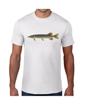 Northern Pike Fish White T-shirt 5.6 oz., 50/50 Heavyweight Blend