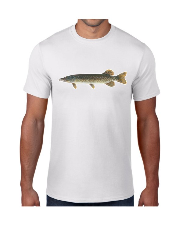Northern Pike Fish White T-shirt 5.6 oz., 50/50 Heavyweight Blend