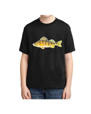 Kids Black Tshirt Yellow Perch T-shirt 5.6 oz., 50/50 Heavyweight Blend