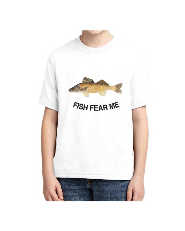 Kids Fish Fear Me Walleye T-shirt 5.6 oz., 50/50 Heavyweight Blend