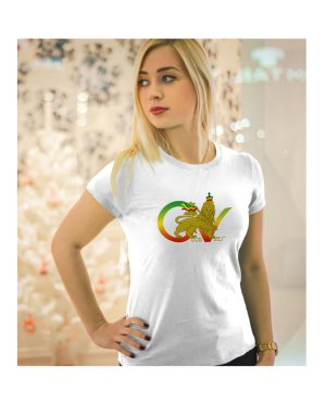 Good Vibes™ Rasta Lion Flag 5.6 oz., 50/50 Heavyweight Blended White T-Shirt