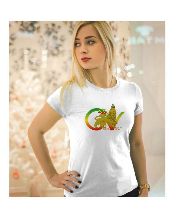 Good Vibes™ Rasta Lion Flag 5.6 oz., 50/50 Heavyweight Blended White T-Shirt