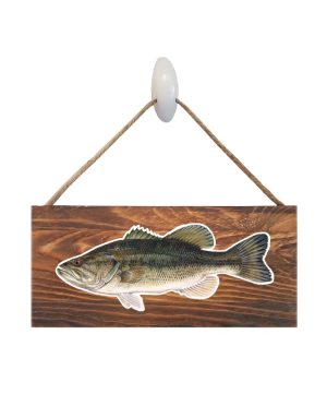 "Good Vibes™ Large Mouth Bass Dark Wood Sign. Size: 12"" W x 5.5"" H - With Rope 11"" H -.30 Thick"