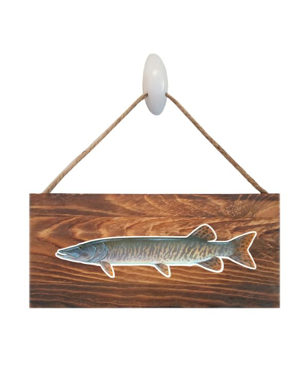 "Good Vibes™ Muskie Dark Wood Sign. Size: 12"" W x 5.5"" H - With Rope 11"" H -.30 Thick"