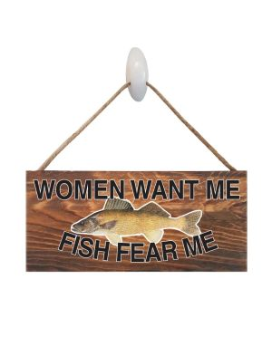 "Good Vibes™ Fish Fear WalleyeDark Wood Sign. Size: 12"" W x 5.5"" H - With Rope 11"" H -.30 Thick"