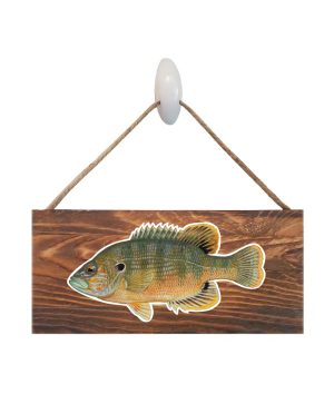 "Good Vibes™ Green Sunfish Dark Wood Sign. Size: 12"" W x 5.5"" H - With Rope 11"" H -.30 Thick"
