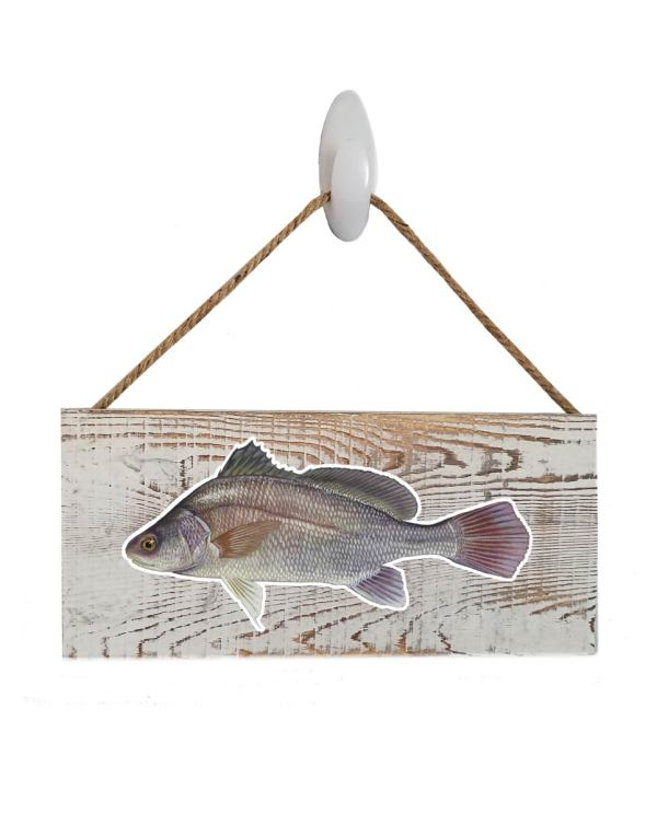 "Good Vibes™ Freshwater Drum White Wood Sign. Size: 12"" W x 5.5"" H - With Rope 11"" H -.30 Thick"