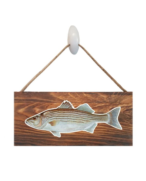 "Striped Bass Dark Wood Sign. Size: 12"" W x 5.5"" H - With Rope 11"" H -.30 Thick"