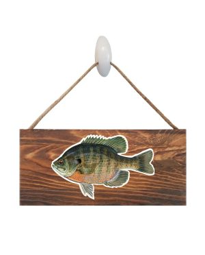 """Bluegill Dark Wood Sign. Size: 12"""" W x 5.5"""" H - With Rope 11"""" H -.30 Thick"""
