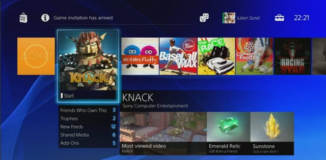 playstation 4 interface screenshot