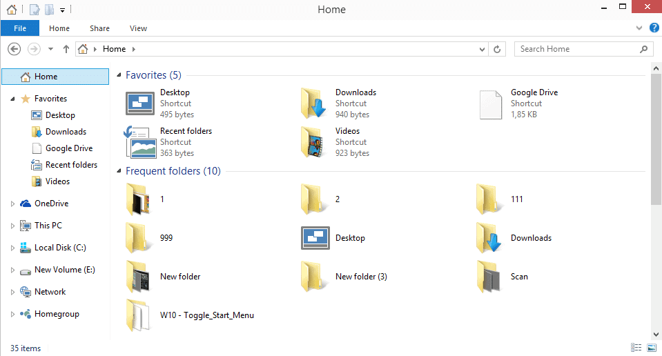 remove favorites frequent folders