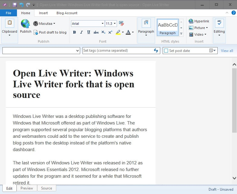 Open Live Writer: Windows Live Writer fork that is open source - gHacks Tech News