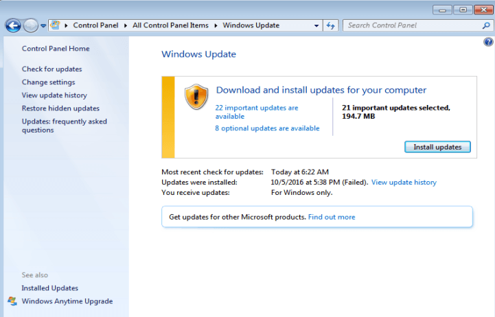 windows 7 windows update not downloading