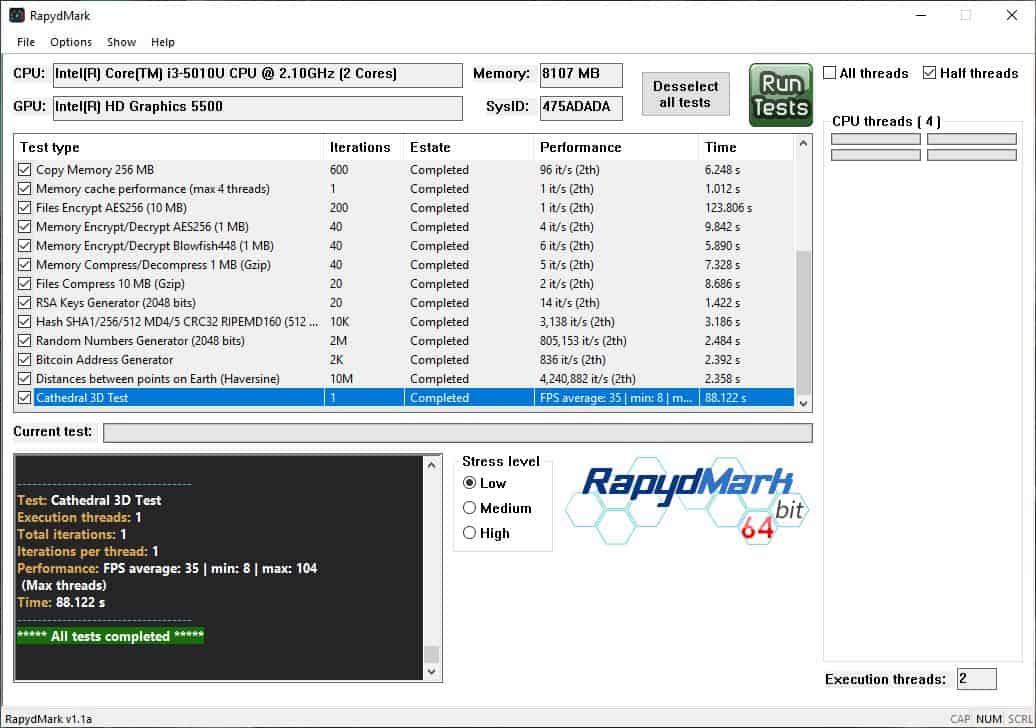 RapydMark half threads test
