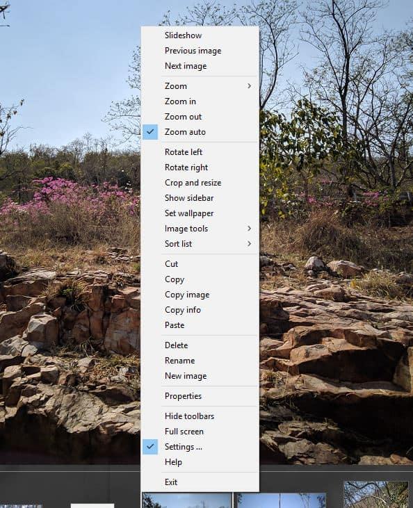 XlideIt Image Viewer - menu contextuel