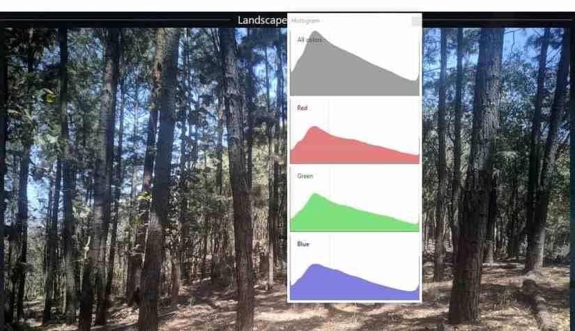 Visionneuse d'images XlideIt - histogramme