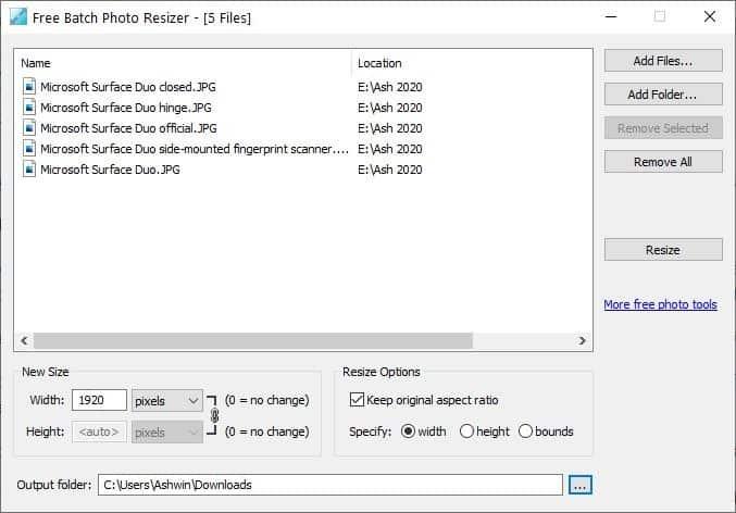 Batch Photo Resizer gratuito aggiunge file