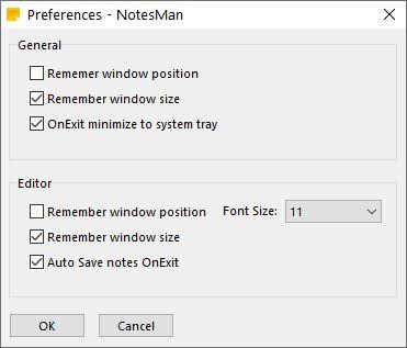 Impostazioni NotesMan