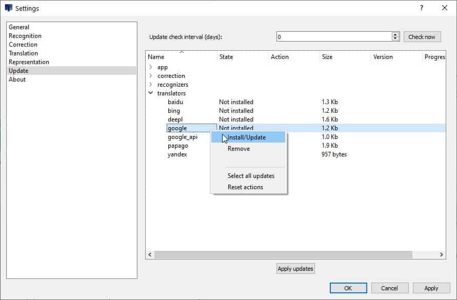 ScreenTranslator install recognition language