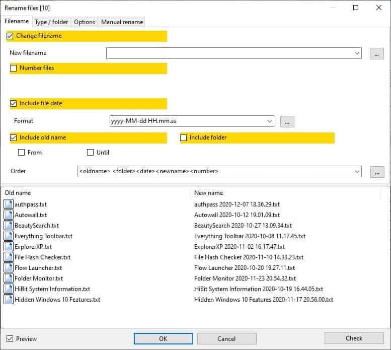 Archiver alternativo: rinomina i file in batch 3