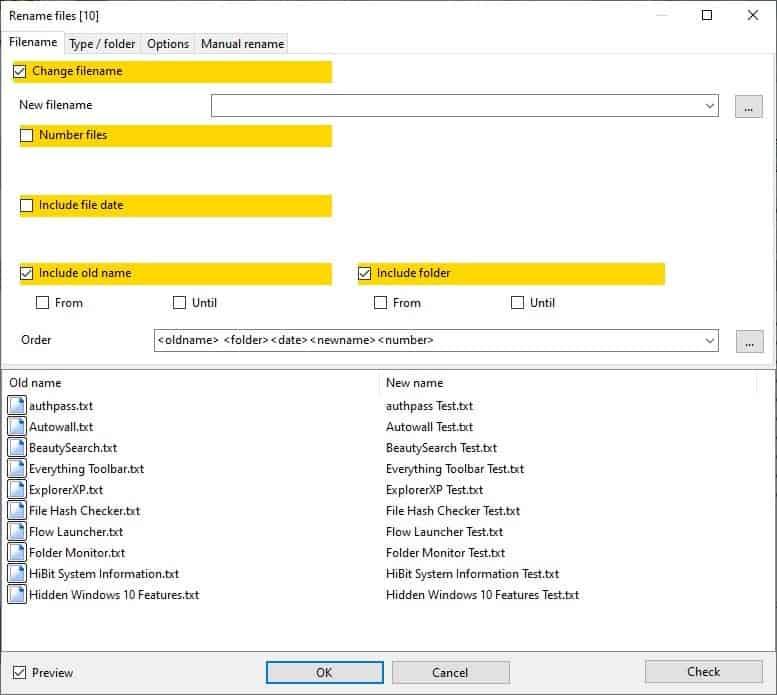 Archiver alternativo: rinomina i file in batch 4