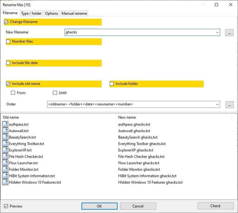 Archiver alternativo: rinomina i file in batch