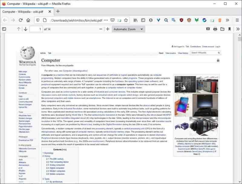 wkhtmltopdf versione della pagina web