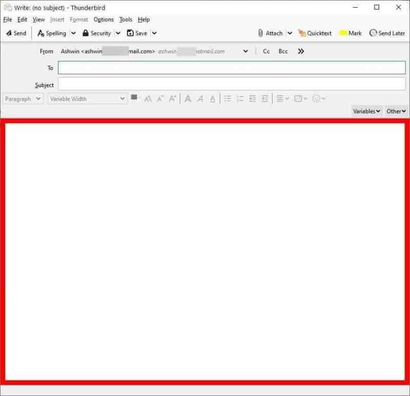 BorderColors D è un'estensione di Thunderbird che ti aiuta a evitare l'invio di e-mail dall'account sbagliato