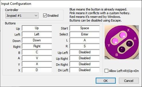 Impostazioni di controllo della tastiera di Snes9x