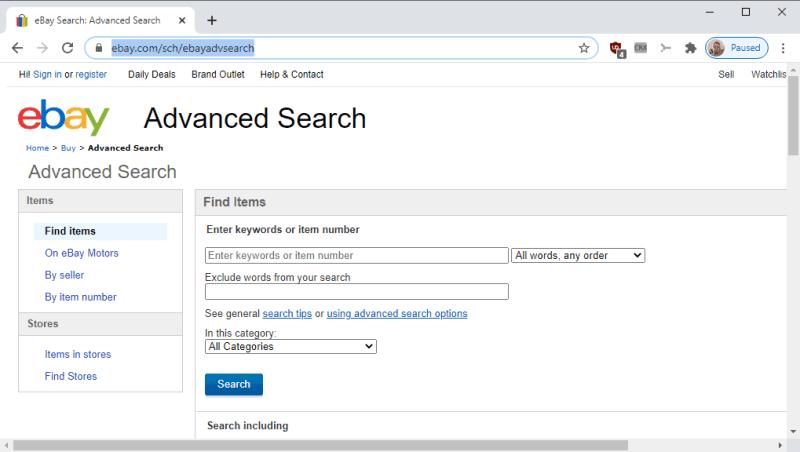 ricerca avanzata su ebay