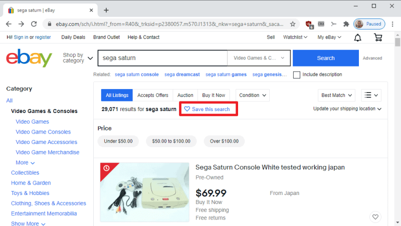 ebay salva la ricerca