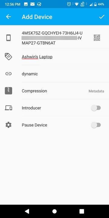 sincronizzare l'app Android aggiungi dispositivo