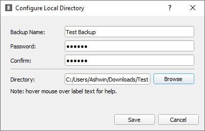 BlobBackup aggiunge una nuova attività di backup locale